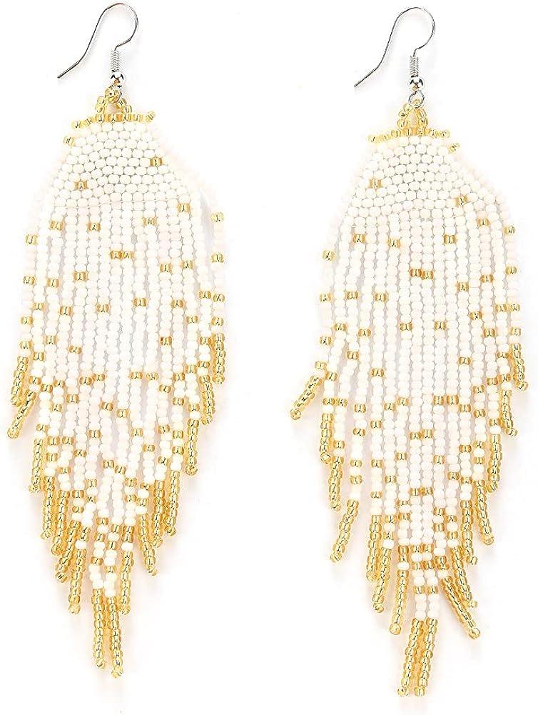 Luluping Long Beaded Tassel Earrings – Large Bohemian Native Statement Bead Dangle Earrings for Women, Big Boho Statement Handmade Beaded Drop Fringe Earrings