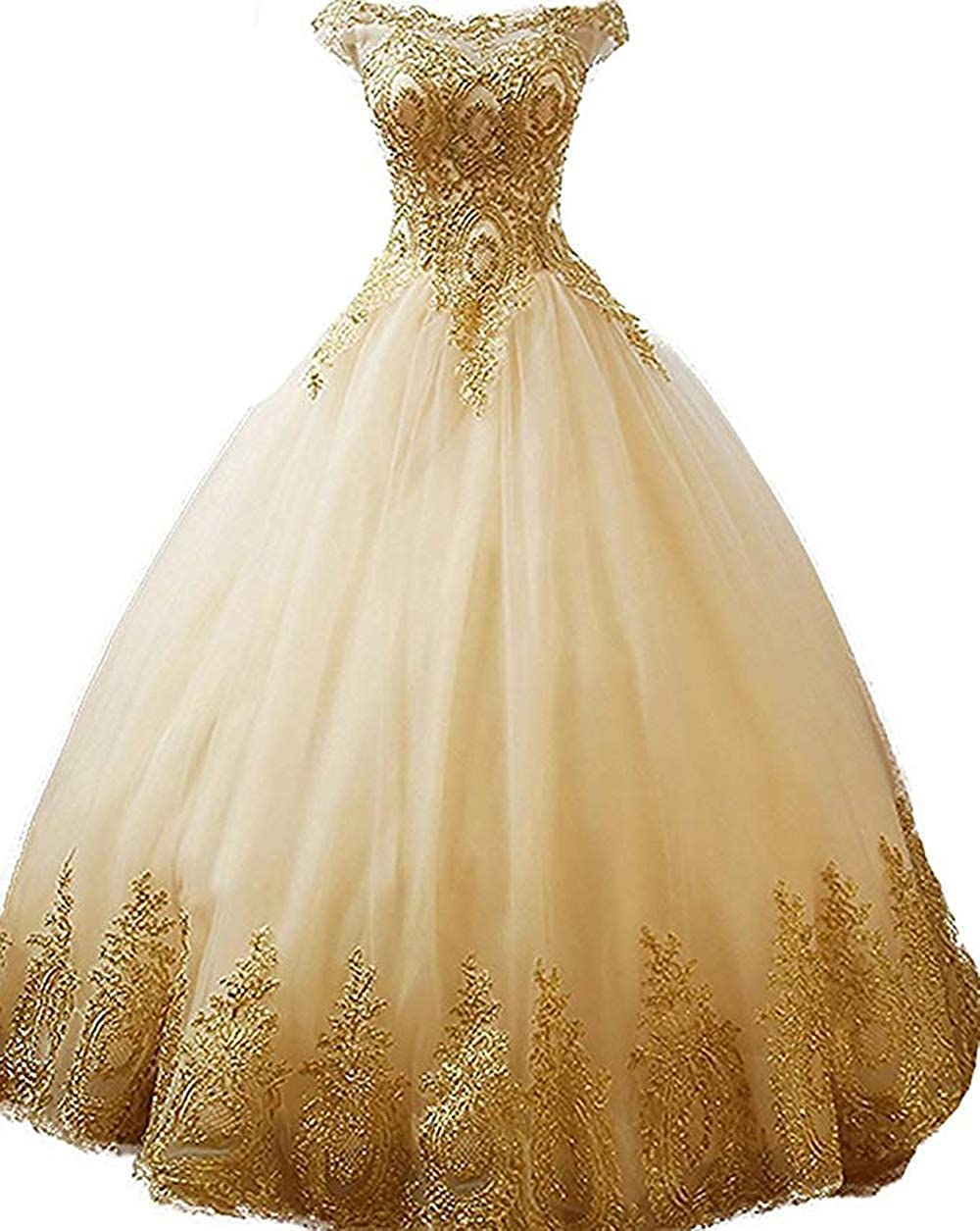 inmagicdress Women's Ball Gowns Gold Lace Appplique Dress