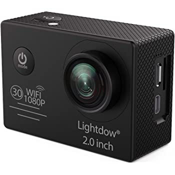 Lightdow LD6000 WiFi 1080P HD Sports Action Camera Kit - App Remote Control 30m Waterproof 2.0 Inch LCD Screen 170 Degree Wide Angle Rechargeable Battery and Mounting Accessories (Black+WiFi)