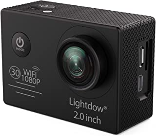 Lightdow LD6000 WiFi 1080P HD Sports Action Camera Kit - App Remote Control 30m Waterproof 2.0 Inch LCD Screen 170 Degree Wide Angle 2 Rechargeable Batteries and Mounting Accessories (Black+WiFi)