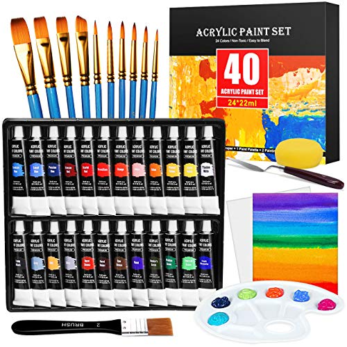 Acrylic Paint Set, Emooqi 24(22 ml/0.74 oz) Vivid Colors Acrylic Paints, with 10 Brushes & Board Brush, Palette & 2 Painting Canvas, Sponge & Mix Scraper,Non Fading Paints for Artists,Adults,Beginners