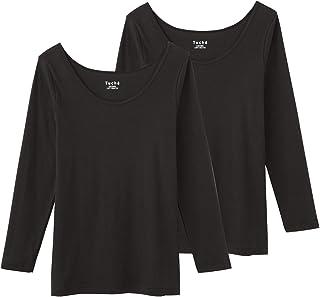 [グンゼ] インナー Tuche トゥシェ INTIMATE 着るコスメ 綿100% 8分袖 TC4046 ブラック(2枚組) 日本M (日本サイズM相当)