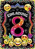 JuNa-Experten 12 Einladungskarten zum 8. Kindergeburtstag für Mädchen / Einladung achte Geburtstag / Einladungen zum Geburtstag / Kartenset für Kindergeburtstag / Glitzerdruck