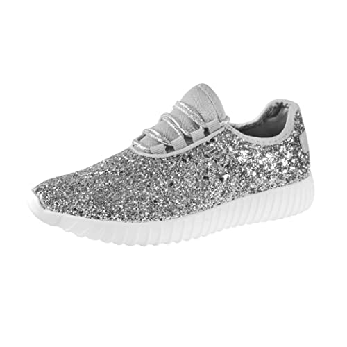 ROXY-ROSE Womens Fashion Glitter Sneaker Walking Shoes Stylish Shoes Sparkly Shoes for Women Black
