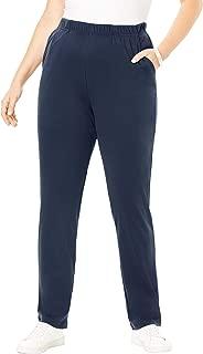 Roamans Women's Plus Size Petite Straight-Leg Soft Knit Pant