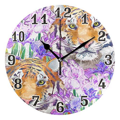 Reloj de Pared Redondo de acrílico con diseño de Cara de Tigre y Flo