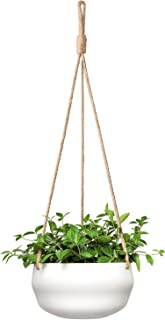 Mkono Modern Ceramic Hanging Planter for Indoor Plants Porcelain Hanging Plant Holder 8 Inch Geometric Flower Pot with Rope Hanger for Indoor Outdoor Herbs Ivy Crawling Plants, White