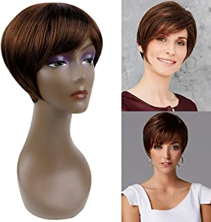 BECUS BEAUTY Short Pixie Cut Straight Wigs with Bangs Natural Synthetic Heat Resistant Fiber Hair Wigs for Women with Cap Wig (Medium Chestnut Brown)