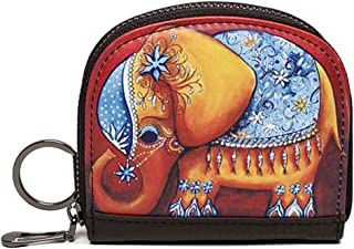 Auony Coin Purse, Leather Change Coin Pouch Bag Cash Bag Wallet Bag with Key Ring for Girls & Women (Elephant)