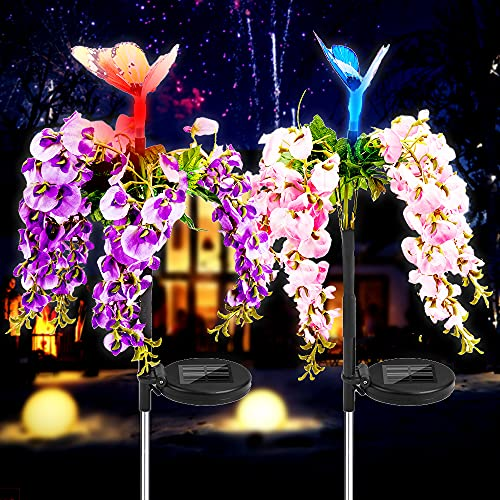 Solar Flowers Lights Outdoor Garden Waterproof Butterfly Stakes Light, Bigger & Taller Solar Lights Outdoor Decorative Multi-Color Changing LED Solar Landscape Light for Garden Patio Yard Decoration