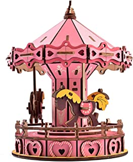 Koralan 3D Merry-Go-Round Wooden Jigsaws Kit Wooden Puzzles DIY Hand Craft Mechanical Toy Gift for Kids Children Adults Age 8+