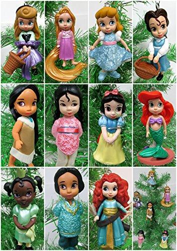 Disney Toddler Baby Princess Set of 11 Christmas Tree Ornaments with Merida, Ariel, Snow White, Rapunzel, Mulan, Jasmine, Cinderella