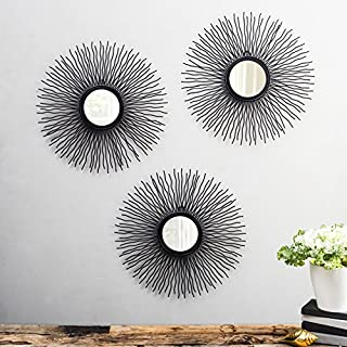 Flourish Concepts The Sun Decorative Mirror (Set of 3 Mirrors) Style Wall Mirror Glass for Bathroom Bedroom Home Décor Living Room