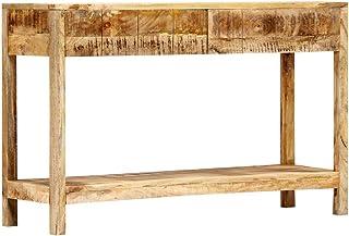 vidaXL Mesa de consola de madera maciza de mango con 2 cajones mesa auxiliar aparador mesa de teléfono mesa de pared...