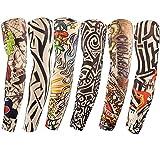 Diossad 6 Pcs Temporaire Tatouages Manches Sunscreen Arts Faux Bras avec Couronne...