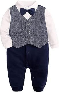 OCHENTA Infant Baby Boy Gentleman Bow Tie Shirt Cotton Rompers Suit Bodysuit