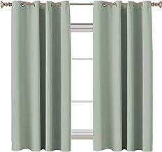 Blackout Room Darkening Curtains Window Panel Drapes - (Sage Color) 2 Panels per Set, 132cm Wide by 160cm Long Each Panel,...