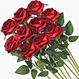 Veryhome Artificial Flowers Silk Roses Real Touch Bridal Wedding Bouquet for Home Garden Party Floral Decor 10 Pcs (Blooming Rose - Gradient Burgundy Red)