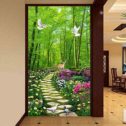 Msrahves fotomurales decorativos pared Verde bosque camino de piedra flores. 200X200CM Papel Pintado Pegamento Fotomurales Vista 3D Sala Living Oficina Dormitorio Foto Mural Pared 3D Fotomurales decor