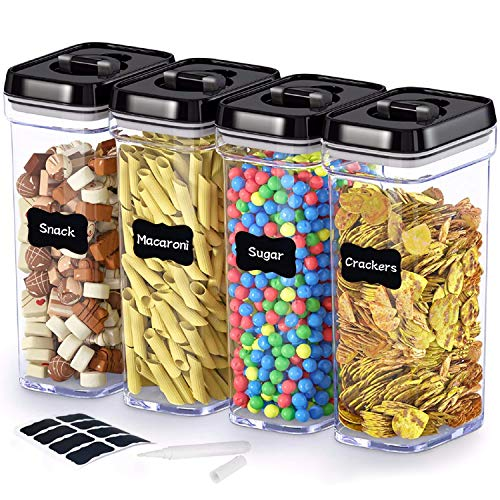 Food Storage Container with Lids - Airtight Plastic BPA Free Keep Food Fresh Dry with Labels & Chalk Marker 1.7L (4 Piece Set)