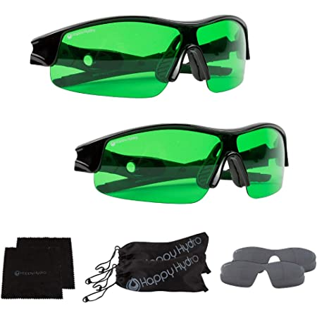 Happy Hydro - LED Grow Room Glasses - Green Lens for Protection from LED Lighting - UV Blocking Wrap Around Design - 2 Pack