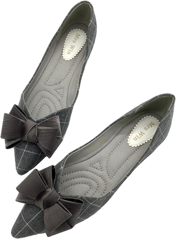 Owen Moll Women Flats, Casual Black Grey Ballet Plaid Slip-On Bowtie Single shoes
