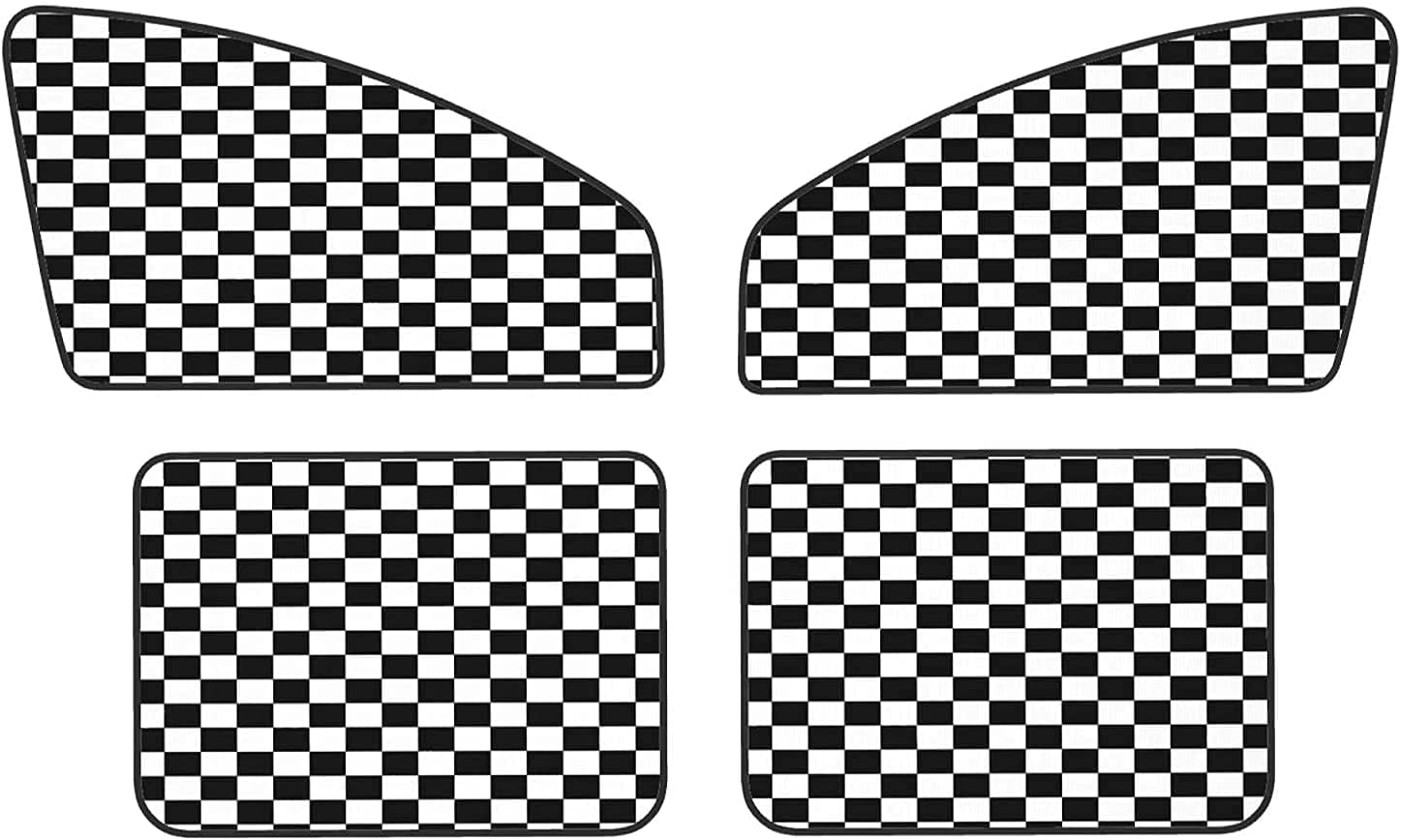 Black Max 41% OFF White Race Checkered Flag Custom 4 Sunshades Set Mag Piece Directly managed store