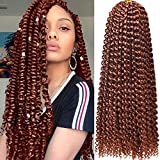 Ms.Priceless Passion Twist hair 18 Inch 7 Pack Water Wave Crochet Hair Passion Twist Crochet Hair Extensions Braiding Hair Copper Red Colour (22Strands/Pack) (#350)