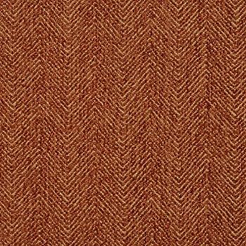 E732 Burnt Orange Herringbone Woven Textured Upholstery Fabric by The Yard