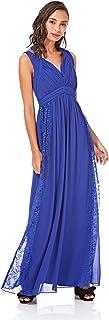 Little Mistress womens Cobalt Lace Panel Maxi Dress A-Line