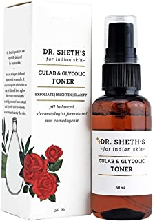 Dr. Sheth's Gulab & Glycolic Toner (Clear) (Vegan) With Glycolic Acid, Rose And Green Tea Extracts For Blackheads, Exfolia...
