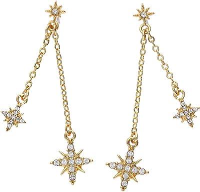 TOSH 1001790 - Orecchini placcati oro con stelle e cristalli