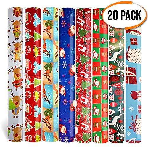 Carta da regalo Natalizia- 20 fogli assortiti da 70 x 50 cm con 10 disegni - Perfetti per regali di Natale, ecc.