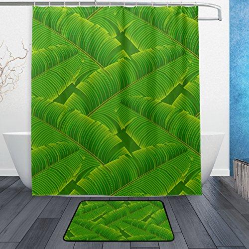 JSTEL Tropische Banane 3-Piece Badezimmer-Set, maschinenwaschbar, für den täglichen Gebrauch, 60x 60cm, wasserdicht, Duschvorhang, 12-Haken mit Anti-Rutsch-Teppich, Teppich, mit