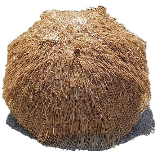 LHSUNTA Sombrilla de Playa con Techo de Paja Hula Redonda Tiki de 220 cm / 7,2 pies Sombrilla de jardín de Paja de Rafia para Exteriores - Color Natural
