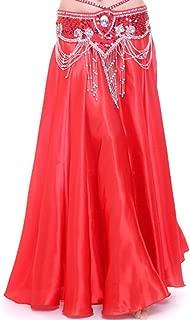 MUNAFIE Belly Dance Satin Skirt Arabic Halloween Shiny Skirt Fancy Full Skirt US0-14