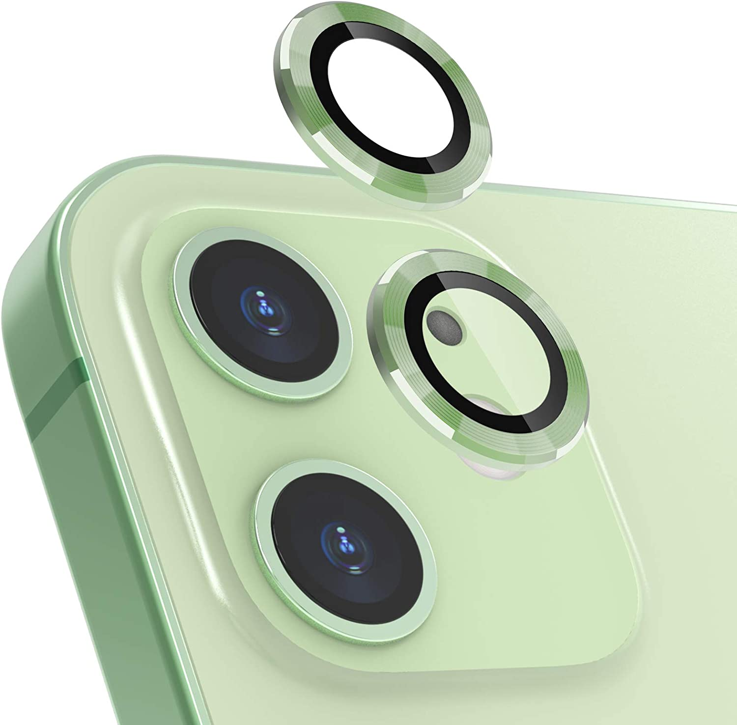 imluckies Camera Lens Protector for iPhone 12/iPhone 12 Mini/iPhone 11, [Anti-Scratch] Premium Tempered Glass Film Aluminum Alloy Lens Ring Cover, Light Green (2 Pack)