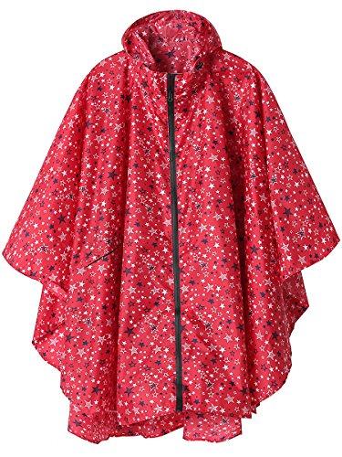 Summer Mae Regen Poncho Jacke Mantel für Erwachsene mit Kapuze wasserdicht mit Reißverschluss im Freien,Einheitsgröße,Rot Sterne