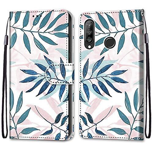 Nadoli Handyhülle Leder für Huawei P30 Lite,Bunt Bemalt Rosa Grün Blätter Trageschlaufe Kartenfach Magnet Ständer Schutzhülle Brieftasche Ledertasche Tasche Etui