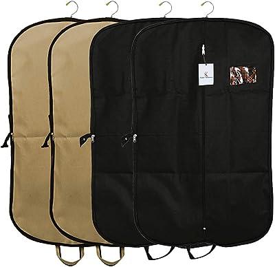 Kuber Industries 4 Pieces Foldable Non Woven Men's Coat Blazer Suit Cover (Black & Brown) -CTKTC041719