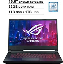 2020 Asus ROG G531GT 15.6 Inch FHD Gaming Laptop (9th Gen Intel 6-Core i7-9750H up to 4.50 GHz, 32GB DDR4 RAM, 1TB SSD + 1...