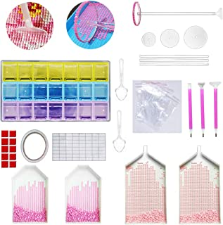 65 Pieces Diamond Painting Tools 5D DIY Diamond Painting Set Including Newest Round Wheel Diamonds Sticky Pens 21 Slots Diamond Embroidery Box and Big Trays for Adults or Kids