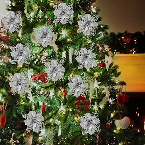 12 Stücke Blume für Weihnachtsschmuck,Weihnachtsdekoration Blumen,Schneeflocken Deko,Weihnachtsbäume,Weihnachtsbaum Weihnachtskranz,Weihnachten Blumen Deko,Aufhängen Weihnachtsbaum(Silber)