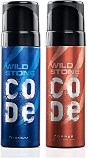 Wild Stone Code Copper and Titanium Body Perfume Combo for Men, Pack of 2 (120ml each)
