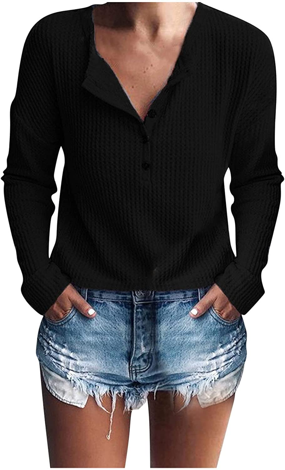ManxiVoo Women's Fall T-Shirt Button V Neck Long Sleeve Pullover Loose Tops Sweater Casual Blouse T Shirt