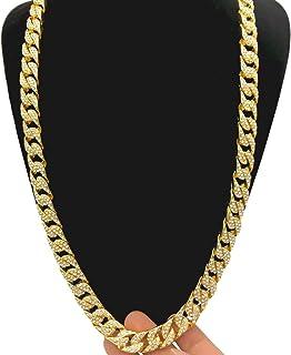 OULII Colar unissex feminino e masculino Hip Hop Acessório de moda joia ouro cubano pingente de corrente com strass de cri...