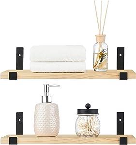 Mkono Rustic Wood Floating Shelves Wall Mounted Set of 2 Modern Decorative Display Shelf with L Bracket Storage Shelving for Bedroom, Living Room, Bathroom, Kitchen, Entry Hallway, Office, Natural