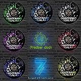 ZJWZ Guardianes de la Galaxia Marvel Comics película Vinilo Record Reloj de Pared LED con 7Colores
