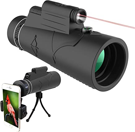 QYWSJ Telescopio Monocular 40 para La Observaci/ón de Aves Caza Camping Senderismo HD de Alta Potencia Bak4 Prism Monocular con Tr/ípode Adaptador de Tel/éfono Inteligente 60 para Adultos