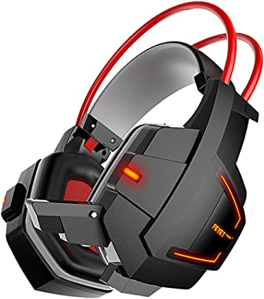 Cuffie Luci A LED Connessione Cablata Cuffie Da Gioco Con Riduzione Del Rumore Cuffie Per Videogiochi Con Controllo Flessibile Del Volume Del Microfono,Black - Trova i prezzi più bassi